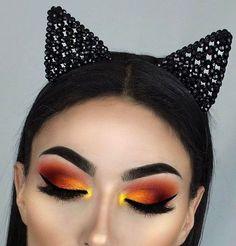 sunrise theme eye makeup red orange yellow winged liner long lashes