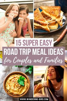 15 Super Easy Road Trip Meal Ideas for Couples and Families. Road Trip meals- quick and easy road trip meal ideas to pack and prep for adults, couples & families. Healthy and cheap road trip meals to make ahead, to pack or to cook on the road. Road trip meal ideas for kids, no cook ideas for lunches. #roadtrip #meals #roadtriptips Road Trip Food, Road Trip Packing, Road Trip Europe, Road Trip Essentials, Road Trip Hacks, Family Meals, Kids Meals, Easy Meals, Road Trip With Kids