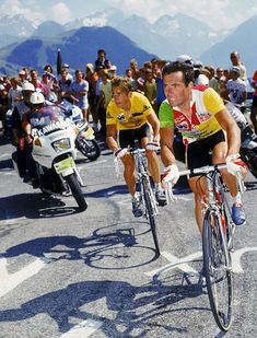 Bernard Hinault and Greg Lemond on Alpe d´Huez - Le Tour 1986