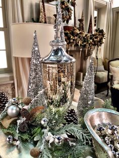"""A silvery vignette....from the stage set of QVC """"A Lisa Robertson Christmas"""" 2014."""