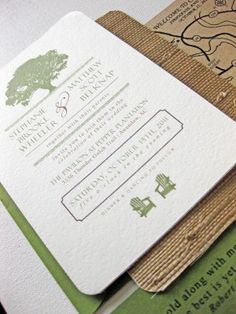 Rustic - LOVE these invitations.  Big Tree and Adirondak chairs like full moon!