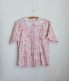 Women's Blouse Vintage Blouse Cotton Blouse Pink  Ivory Green Floral Print Flowers  Short Sleeve  Button up Embroidered Collar