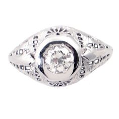 Diamond in Edwardian-Art Deco Era Filigree Ring - Size Filigree Jewelry, White Gold Jewelry, Filigree Ring, White Gold Rings, White Gold Diamonds, Antique Rings, Antique Jewelry, Right Hand Rings, Gemstones