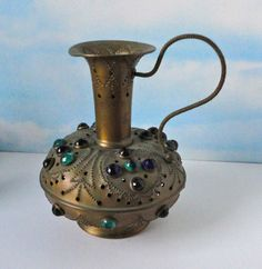 Brass tone metal with colorful glass jewels Vessel Votive candle Luminaria. by Cosasraras on Etsy