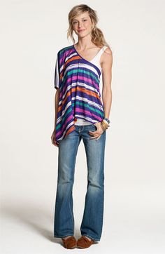 $36.00 Lush Print One-Shoulder Poncho Top