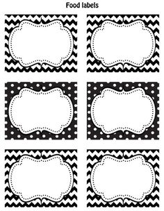 "Nice ""printable"" labels for the party!    http://celebrationsathomeblog.com/2011/11/free-black-white-printable-labels.html"