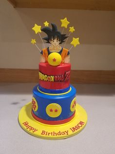 Dragon Ball Z cake with all hand cut and detailed topper and lettering. Ball Theme Birthday, Birthday Fun, Birthday Party Decorations, Dragonball Z Cake, Naruto Birthday, Happy Birthday Wishes Cake, Anime Cake, Cake Decorating Techniques, Dragon Ball Gt