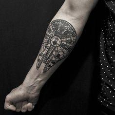 Tattoo Filter — Millenium Falcon tattoo on the forearm. Tattoo...