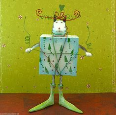 """Christmas Present Cat Figure - Retired - 56.36626 - 10"""" - (one of 3 assorted)"""