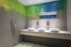 Cribbar surf bar by Absolute, Newquay UK store design Office Bathroom, Bathroom Closet, Bathroom Mirrors, Bathrooms, Visual Merchandising, Commercial Bathroom Ideas, Restaurant Bathroom, Kids Toilet, Gold Ceiling