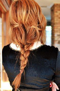 simple, messy braid in red hair