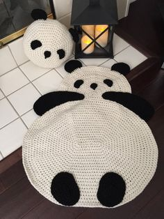 Panda rug crochet panda rug floor rug crochet rug children room rug any room rug wall hanging rug throw rug We adding Crochet Panda rug to our collection and it brings warm smiles and makes charming accent in any room! Crochet Pillow, Crochet Baby Hats, Cute Crochet, Crochet Stitches, Baby Knitting, Crochet Patterns, Crochet Rugs, Crochet Panda, Crochet Animals