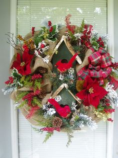 Christmas Wreath, Burlap Mesh Wreath, Winter Dbl-decker Birdhouse Wreath, Nature Wreath with Cardinals'  Birdhouse on Etsy, $99.95