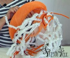 Deco Poly Mesh Pumpkin using a Work Ball and Deco Poly Mesh - Instructions on the Trendy Tree Blog!  #TrendyTree