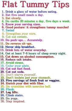 Flat Stomach Tips.  If you do not know what planks are get the app Nike Fittness Club or     search it on google.com/plank