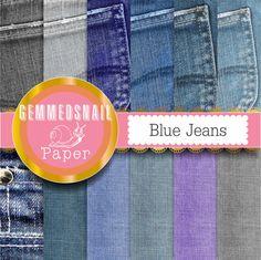 Denim digital paper 'Blue jeans' denim background by GemmedSnail