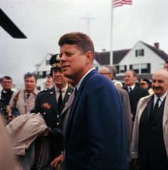 Hyannis Port, Massachusetts. President Kennedy, left bids goodbye to Canadian prime Minister Lester pearson as the latter left cape cod for Ottawa, following a weekend of talks. Date Photographed:11 May 1963