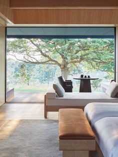 Amanemu, a hot spring resort overlooking the calm waters of Ago Bay. Japan Interior, Japanese Interior Design, Contemporary Interior Design, Home Interior Design, Contemporary Architecture, Contemporary Living Room Furniture, Living Room Modern, Living Rooms, Modern Furniture