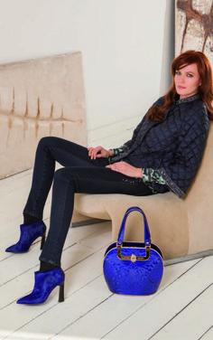 Valentino Orlandi Cobalt Blue Embroidered Bowling Bag