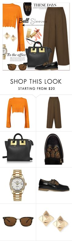 """""""Bell sleeves...office style..."""" by nihal-imsk-cam ❤ liked on Polyvore featuring Boohoo, Etro, Sophie Hulme, Rolex, Oliver Peoples, Valentino and bellsleeves"""