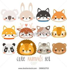 set of twelve cute animals. illustration of fox, rabbit, husky, shiba inu, deer, cat, panda, raccoon, tiger, bear, koala and lion on white background. can be used for cards or birthday invitations