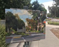 Jim McVicker, Claremont Ca. at the entry to Pomona College. 12x16