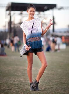 COACHELLA 2012 This girl has found peace in an open weave sleeveless, gradient knit and shorts.