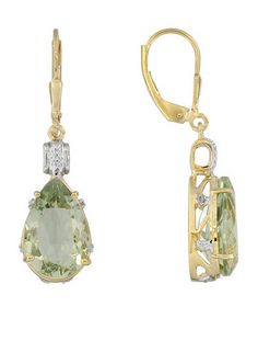 Stratify 9.40ctw Pear Shape Prasiolite With .02ctw White Topaz 18k Gold Over Silver Earrings