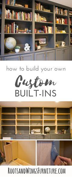 DIY wall to wall book cases.  Use kitchen cabinets as a base and build a whole wall of built-ins for your home office.  Add tons of storage and character.  Tutorial by Jenni of Roots and Wings Furniture.