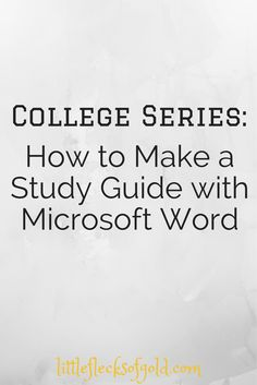How to Make a Study Guide Using Microsoft Word