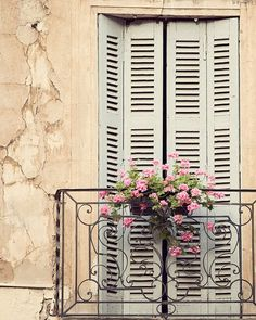 Window Treatment - Mother's Day, France Photograph, Provence, Spring, Travel Photography, Shabby Chic, Home Decor, Peach,