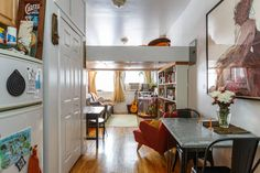 Loft with bookcase and alternating tread stairs. Fir and pine with oak stairs and trim. Finished June 2015 NYC Studio Micro Apartment Tiny House