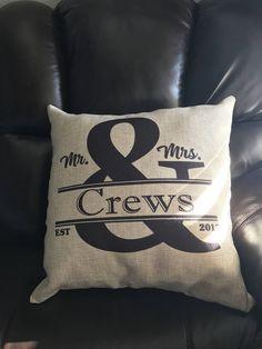 Personalized 18x18 Burlap Pillow - Decorative Pillow - Farmhouse Burlap Pillow - Monogram Pillow - Accent Pillow - Custom Pillow Cover by SimplyChicDesignzCo on Etsy
