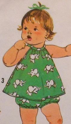 Retro Baby Sundress, Top, and Panties Sewing Pattern