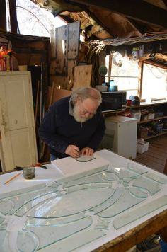 """The 1/4"""" glass has to be cut dead on to fit into the caming so the window doesn't """"grow"""" on us during the assembly of the piece. WWW.waynecain.com Beveled Glass, Mosaic Glass, Glass Art, Stained Glass Studio, Stained Glass Projects, Art Decor, Home Decor, Glass Door, Art Pieces"""