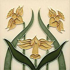 Art Nouveau Tiles - cream bell flowers and green leaves on cream background. Art Nouveau Tiles, Art Nouveau Design, Azulejos Art Nouveau, William Morris Art, Vintage Tile, Arts And Crafts Movement, Decorative Tile, Tile Art, Custom Art