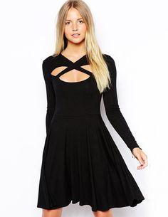 Black Long Sleeve Cross Front Detail Skater Dress