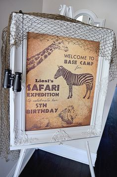 Throwing a modern and chic Safari Party? Make your party or food table stand out with this welcome sign backdrop for your safari expedition party! Now you can purchase the signage from one of Pinterests most popular Safari birthday parties! In the comments section when purchasing
