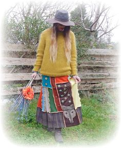 Fox Long Skirt Upcycled Stretch Flared Woodland by TheTopianDen