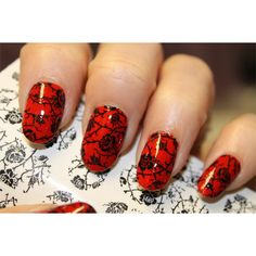 18 Full Nail Decal BLACK ROSES -Nail Art Professional Results... ($7) ❤ liked on Polyvore featuring beauty products, nail care, nail treatments, nails, makeup, beauty and nail polish