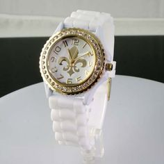 Hot Item!! White n Gold Jelly Band Fleur De Lis Watch-6886/WH/GD