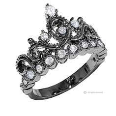 Sterling Silver Crown Ring / Princess Ring (Black Rhodium Plated) - http://darrenblogs.com/2016/02/sterling-silver-crown-ring-princess-ring-black-rhodium-plated/