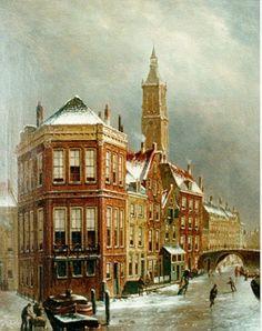 Oene Romkes de Jongh - Winters gezicht op 't Kolkje te Amsterdam: