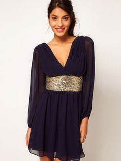 Deep v-neck and sequin band - great for holiday parties!