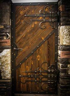 34 Ideas Entrance Door Rustic For 2019 Cool Doors, Unique Doors, Rustic Doors, Wooden Doors, Gate Design, Door Design, Castle Doors, Front Yard Fence, Yard Fencing