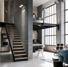 Best Ideas For Modern House Design & Architecture : – Picture : – Description Modern Loft Design by the Urbanist Lab Loft Design, Deco Design, House Design, Modern Design, Condo Design, Design Homes, Garage Design, Design Bedroom, Bedroom Ideas