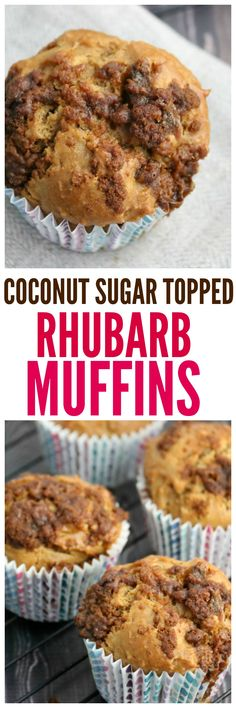 Coconut Sugar Topped Rhubarb Muffin Recipe - a delicious natural sugar sweetened muffin that is perfect for Springtime! Healthy Muffin Recipes, Muffin Tin Recipes, Cupcake Recipes, Baking Recipes, Breakfast Recipes, Dessert Recipes, Healthy Snacks, Breakfast Bake, Dessert Ideas