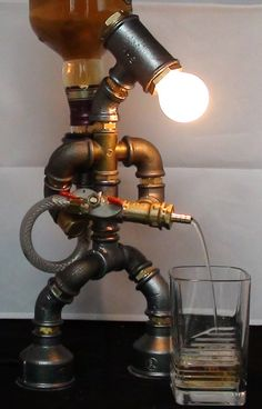 Liquor alcohol whisky dispenser, Firefighter Jack Daniels Birthday Gift for Him, Father's Day Gift, Steampunk Fireman pipe robot Night Lamp Alcohol Dispenser, Drink Dispenser, Whiskey Dispenser, Pipe Furniture, Industrial Furniture, Industrial Lamps, Furniture Design, Bathroom Furniture, Bathroom Wall