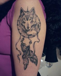Dreamcatcher's tattoo with wolf by monica_manara