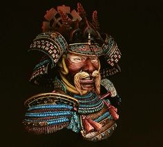bust white metal from Elite miniatures // paint in acrylics Japanese Warrior, Samurai Armor, Different Media, Japanese Tattoos, Japan Art, Acrylics, Character Inspiration, Surrealism, Oriental